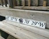 Beach Nautical Sign Custom Latitude and Longitude  Wall Decor Vintage Style Nursery