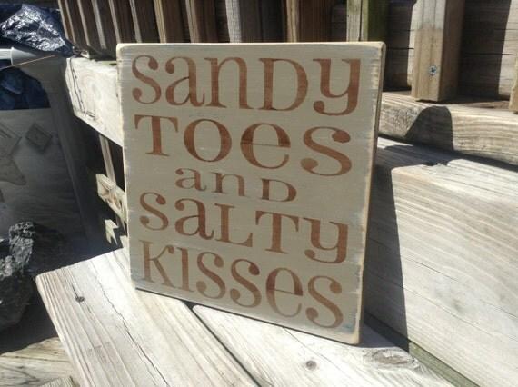 Beach Sign Sandy Toes Salty Kisses TAN Nautical Baby Nursery and Coastal Decor