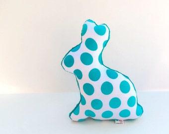 Plush Bunny Polka Dot Stuffed Animal Nursery Decor Aqua Teal White