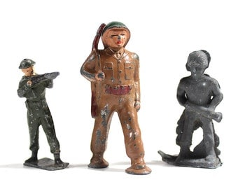 Set of 3 Toy Lead Soldiers