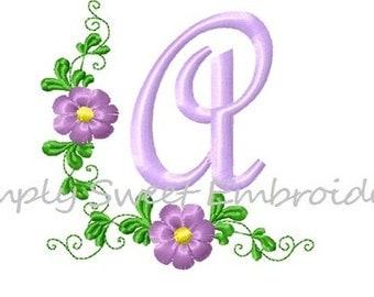 Flower Border Machine Embroidery Font Set