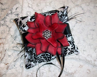 Deep Red White and Black Damask Ring Bearer Pillow