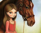 Equestrian horse girl - Scarlett and Blaze print on premium matte- equestrian art by Marisol Spoon