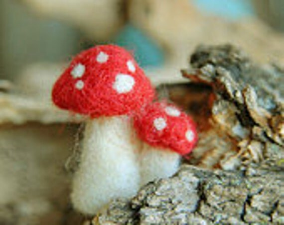 Needle felted mushrooms, Waldorf inspired, Tiny red and white toadstools