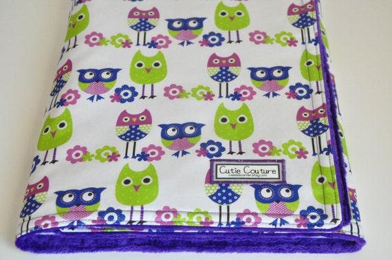 Purple and blue owls CUSTOM ORGANIC baby girl blanket. 32.5 X 35