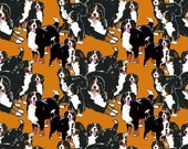bernese mountain dog mural cotton fabric