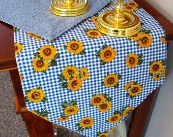 "Sunflower Table Runner 72"" Reversible Blue and Yellow Sunflower Table Runner Country Blue Table Runner Blue Sunflower Dresser Scarf"