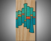 "Self Control: 3.5"" x 7.25"" - Small Art - Modern, Contemporary, Abstract - Original Design - Aqua, Teal, Orange - Prismacolor - Pyrography"