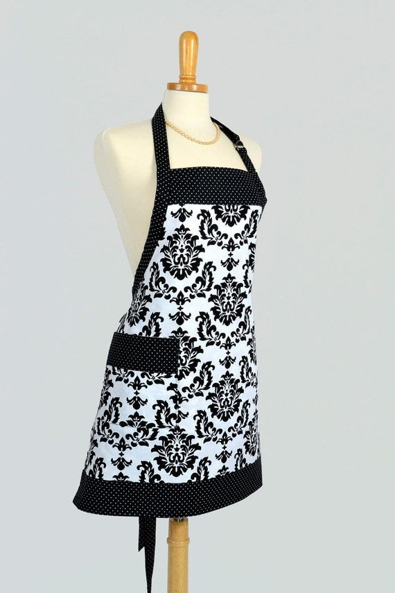 reversible chef apron   black and white damask white black