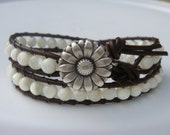 Shell Beaded Leather Wrap Bracelet, Daisy Button