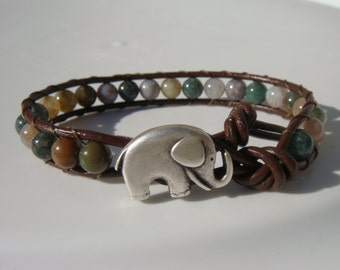 Elephant Bracelet, Fancy Jasper Beaded Leather Bracelet