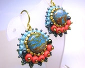 Turquoise Seed Beads Dangle Brass Hook Earrings -- Native American Ethnic Inspired
