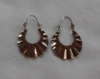 Vintage Fan Earrings -Silver plated 1970's