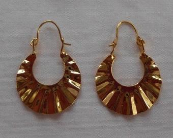 Vintage Fan Earrings -Gold plated 1970's