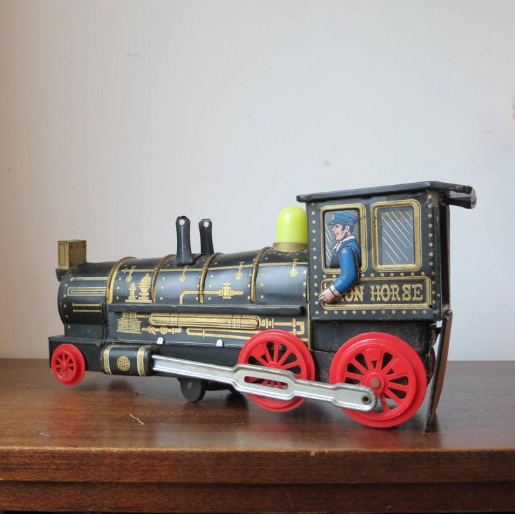 Golden Yellow Metal Kitchen Cart Movable Painted Vintage 50s: Vintage Midcentury 1950s Tin Train Engine By