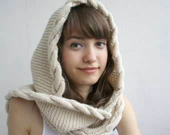 Beige Wool Hooded Cabled  Long Scarf  Cowl Mothers Day gift Under USD100 Bridal Romantic Hoodie