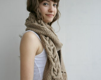 Milky Brown Wool Special Design By DenizGunes Knit  Scarf Perfect Gift Under 75 For Women For Girl Friend Mothers Day Gift