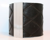 Diamond embossed Black Leather Cuff with Silver Metal Magnetic Clasp
