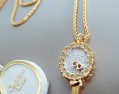 Vintage Christian Dior MIRROR charm necklace (crystal / gold)
