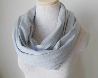 Grey Heather Jersey Knit Infinity Scarf