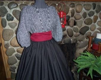Custom Civil War Prairie Pioneer Dress includes Skirt, Hoop Slip, Blouse, Sash, and Mop Hat