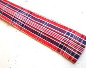 Vintage ROOSTER Red White Blue Madras Plaid Cotton Necktie
