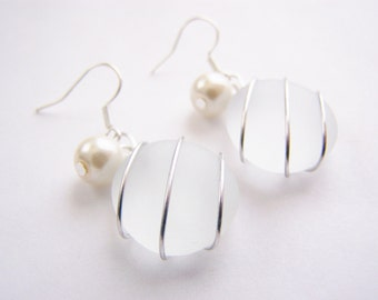 Seaglass Bridesmaids sets - Ghostly Clear Earrings - Glass Pearl - Other Colors - Earrings available - Weddings - affordable - seaside