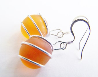 Sea Glass Bridesmaids sets - Sunset Orange Earrings - Glass Pearl - Other Colors Available - Weddings - affordable - seaside