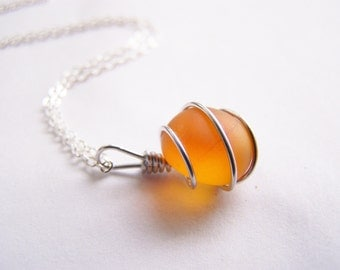 Sea Glass Bridesmaids sets - Sunset Orange Necklace with Glass Pearl Option - Other Colors and Earrings Available - Weddings - seaside