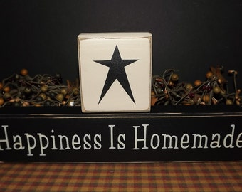 Happiness Is Homemade primitive wood blocks sign