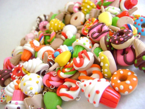 10 Assorted Food Charms, Polymer Clay Food Charms, Dessert Charms