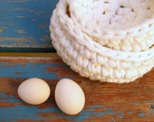 2 Crocheted Bowls --- White nesting bowls --- Catch All Bowls --- Eco friendly fabric crocheted bowls --- Made to Order