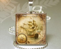 Old World Ship - Square Pendant -  Art Photo with chain - Pirate Ship Necklace - Clipper Ship - Sailing Ship - Nautical Art - Key ring