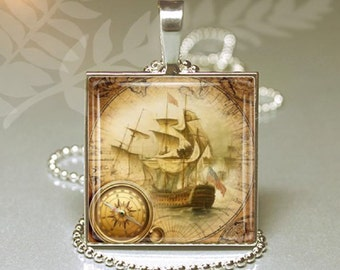 Old World Ship - Square Pendant Key Ring-  Art Photo with chain - Pirate Ship Necklace - Clipper Ship - Sailing Ship - Wearable Nautical Art