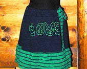 Green and Navy  Peace and Love Ruffled Skirt Upcycled from T-shirt
