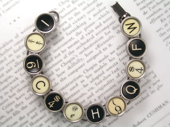 Typewriter Key Bracelet With Random Keys Black White - Vintage Typewriter Jewelry From HauteKeys