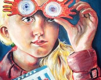 Luna Lovegood Fine Art Limited Edition Print  Artwork pop Art Harry Potter Nargles