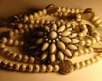 White Porcelian Floral Brooch and Beaded Necklace with Victorian Style