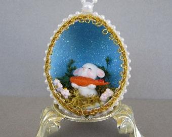 Easter Bunny w/carrot Egg Ornament