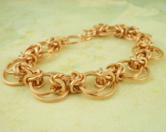 Bronze Chainmaille Bracelet Kit - Intermediate Staggered Byzantine Weave - Unique Style