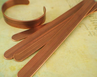 Solid, Raw Copper Bracelet Stock with FINISHED Ends - 12mm - 1/2 inch wide - 14 gauge - 100% Guarantee