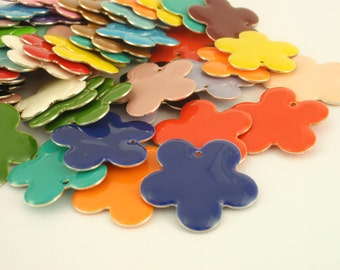 25 - 27mm Colorful Flower Drops - Handcrafted Jump Rings Included - 100% Guarantee