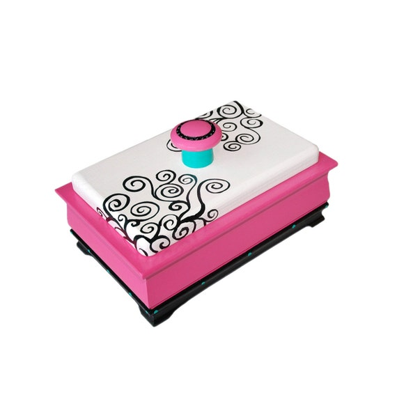 JEWELRY BOX Pink and White with Black Scrolling