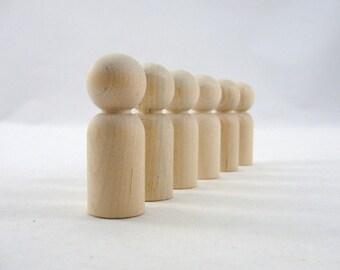 Wooden peg people, peg dad, unfinished DIY set of 6