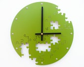 Puzzle V, Medium Wall Clock, Painted Eden Green, unique wall clock, modern wall clock, steampunk wall clock, industrial wall clock