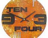 Outnumbered II, Medium Wall Clock, Rusted with Black Background, rustic wall clock, unique wall clock, modern wall clock, steampunk clock
