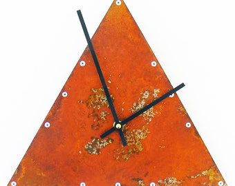 Triangle, Medium, Rustic Wall Clock, Unique Wall Clock, Modern Wall Clock, Steampunk Home Decor, Industrial Metal Art, Laser Cut Clock, Cool