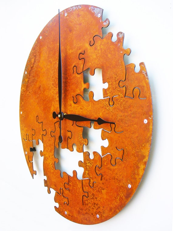 Puzzle V, Large Wall Clock, Rusted Wall Clock, rustic wall clock, unique wall clock, modern wall clock, steampunk wall clock