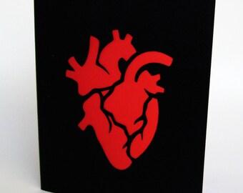 Anatomical Heart Valentine Black & Red Vellum Cut Paper Silhouette Art Greeting card