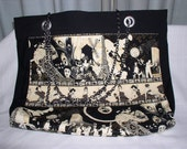 Large Market Tote with Designer Fabric and Chain Handles